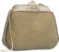 "Luxury Accessories:Bags, Judith Leiber Green Chevron Embroidered Lizard Evening Bag. VeryGood to Excellent Condition. 7"" Width x 5.5"" Height x..."