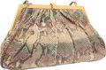 """Luxury Accessories:Bags, Judith Leiber Green & Beige Ombre Python Evening Bag. VeryGood Condition. 13.5"""" Width x 7.5"""" Height x 1.5"""" Depth...."""