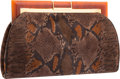 "Luxury Accessories:Bags, Judith Leiber Brown Python Suede Clutch Bag. ExcellentCondition. 9.5"" Width x 6"" Height x 1"" Depth. ..."
