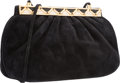 "Luxury Accessories:Bags, Judith Leiber Black Suede Evening Bag. Very Good Condition.9"" Width x 5.5"" Height x 2"" Depth. ..."