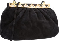 "Judith Leiber Black Suede Evening Bag Very Good Condition 9"" Width x 5.5"" Height x 2"" Depth</"
