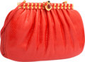 "Luxury Accessories:Bags, Judith Leiber Red Karung Evening Bag. Very Good Condition.11"" Width x 7"" Height x 1.5"" Depth. ..."