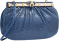 "Luxury Accessories:Accessories, Judith Leiber Blue Karung Shoulder Bag with Silver & GoldHardware. Good to Very Good Condition. 7"" Width x 5""Height ..."