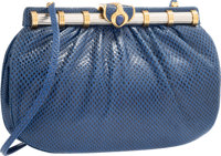 Judith Leiber Blue Karung Shoulder Bag with Silver & Gold Hardware Good to Very Good Condition 7""