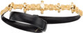 """Luxury Accessories:Accessories, Judith Leiber Black Leather Belt with Gold Hardware. Very GoodCondition. .5"""" Width x 34"""" Length. ..."""