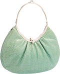 "Luxury Accessories:Accessories, Judith Leiber Green Karung Top Handle Bag with Silver Hardware.Very Good Condition. 9"" Width x 6"" Height x 1""Depth..."