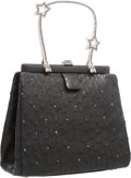 """Luxury Accessories:Accessories, Judith Leiber Black Ostrich & Crystal Evening Bag with SilverHardware. Very Good Condition. 6.5"""" Width x 6"""" Height x..."""
