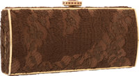 """Judith Leiber Brown Satin & Lace Evening Bag Good Condition 6.5"""" Width x 3"""" Height x 1.5"""" Depth&l..."""
