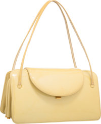 """Judith Leiber Yellow Patent Leather Shoulder Bag with Gold Hardware Good Condition 9"""" Width x 5.5"""