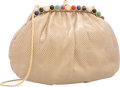 "Luxury Accessories:Bags, Judith Leiber Beige Ruched Karung Evening Bag. Very Good Condition. 8.5"" Width x 6"" Height x 2"" Depth. ..."