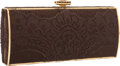 "Luxury Accessories:Accessories, Judith Leiber Brown Satin & Lace Clutch Bag with Gold Hardware.Very Good Condition. 6.5"" Width x 3"" Height x 1""Depth..."