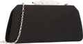 "Luxury Accessories:Bags, Judith Leiber Black Satin Evening Bag. Good to Very GoodCondition. 9"" Width x 4"" Height x 1"" Depth. ..."