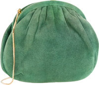 "Judith Leiber Green Suede Evening Bag Fair Condition 8"" Width x 6"" Height x 2"" Depth"