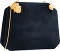 "Luxury Accessories:Bags, Judith Leiber Navy Blue Suede Frog Evening Bag. Very Good Condition. 9"" Width x 7"" Height x 2"" Depth. ..."