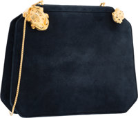 "Judith Leiber Navy Blue Suede Frog Evening Bag Very Good Condition 9"" Width x 7"" Height x 2"" Dept"