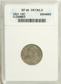 Bust Dimes: , 1821 10C Large Date--Cleaned--ANACS. XF40 Details. NGC Census:(11/165). PCGS Population (14/127). Mintage: 1,186,512. Numi...