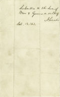 """Military & Patriotic:Civil War, Abraham Lincoln Autograph Endorsement Signed, """"A. Lincoln"""". One page, 5"""" x 8"""", n.p., February 13, 1863. The body of thi..."""