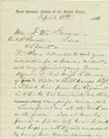 """Autographs:Military Figures, E. O. C. Ord Autograph Letter Signed: """"E. O. C. Ord/M Genl"""", 1.5 pages, separate conjoined sheets. Head Quarters Armies ..."""
