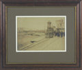 Military & Patriotic:Civil War, President Abraham Lincoln Funeral Train Framed Photo Beautiful mounted and framed wet-plate albumen showing the funeral trai...