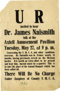 Basketball Collectibles:Others, 1920 James Naismith Lecture Broadside. Exciting artifact onceinvited interested parties to attend a lecture by Dr. Naismit...