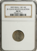 Bust Dimes: , 1829 10C Small 10C AU55 NGC. JR-3 Ex: Jules Reiver Collection. NGCCensus: (15/160). PCGS Population (12/128). Mintage: 770...