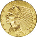 Indian Quarter Eagles: , 1911-D $2 1/2 MS65 PCGS. Eight different '11-D quarter eagles are offered in this sale, with this single Gem example the fi...