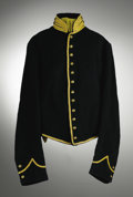 Military & Patriotic:Civil War, Union Cavalry Private's Shell Jacket with yellow piping throughout in near mint condition. U.S. Arsenal markings stenciled i...