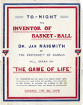 "Basketball Collectibles:Others, Circa 1918 James Naismith Lecture Broadside. Fantastic and patriotic broadside invited World War I soldier to hear ""The Inv..."