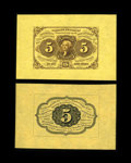 Fractional Currency:First Issue, Fr. 1231SP 5c First Issue Wide Margin Pair. Choice New. This is avery difficult pair to grade as the face is an enormously ...(Total: 2 notes)