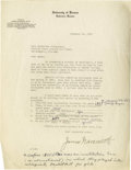 Basketball Collectibles:Others, 1930 James Naismith Signed Typed Letter. Fantastic typedquestionnaire on Dr. Naismith's personal University of Kansaslett...