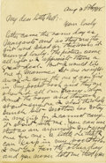 Basketball Collectibles:Others, 1918 James Naismith Handwritten Signed Letter with Signed Envelope.. Date: August 30, 1918.. Location: France.. Length...