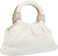 "Judith Leiber White Leather Tote Bag Good Condition 11"" Width x 6"" Height x 3"" Depth"