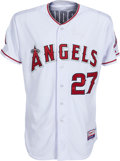 Autographs:Baseballs, 2015 Mike Trout Game Worn, Signed Los Angeles Angels of Anaheim Jersey with MLB Hologram & Player Letter. ...