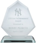 Baseball Collectibles:Others, 2007 Bobby Murcer New York Yankees Lifetime Achievement Award fromThe Bobby Murcer Collection. ...