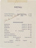 Music Memorabilia:Autographs and Signed Items, Hank Williams Signed Menu....
