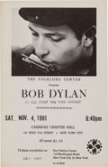 Music Memorabilia:Memorabilia, Bob Dylan First New York Concert Program/Handbill (November 4,1961)....
