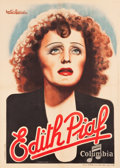 "Movie Posters:Miscellaneous, Edith Piaf French Personality Poster (Atelier Girbal Paris/DisquesColumbia, Late 1930s). French Grande (45"" X 63""). Gaston ..."