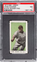 "Baseball Cards:Singles (Pre-1930), 1910 E98 ""Set of 30"" Hans Wagner - Green (Black Swamp Find) PSA NM7 - Highest Grade Available!..."