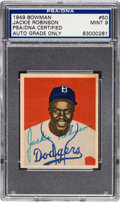 Baseball Collectibles:Others, 1949 Bowman Jackie Robinson #50 Signed, PSA/DNA Mint 9....