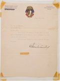 Baseball Collectibles:Others, 1919 Charles Comiskey Signed Letter on Chicago White SoxStationery, PSA/DNA Mint 9. ...