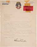 Baseball Collectibles:Others, 1919 Charles Comiskey Signed Letter on Chicago White Sox Stationery. ...