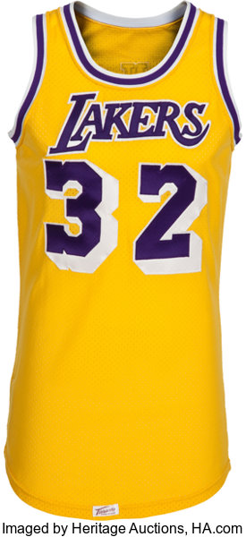 ee671cd3015 ... Basketball Collectibles:Uniforms, 1979-85 Magic Johnson Game Worn Los  Angeles Lakers Jersey ...