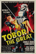"Movie Posters:Science Fiction, Tobor the Great (Republic, 1954). One Sheet (27"" X 41""). It was a""boy and his robot"" movie where scientists develop a robot..."