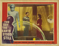 "Movie Posters:Science Fiction, The Day the Earth Stood Still (20th Century Fox, 1951). Lobby Card(11"" X 14""). Michael Rennie plays Klaatu, an emissary fro..."
