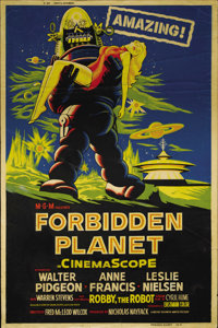 """Forbidden Planet (Loews - MGM, 1956). Poster (40"""" X 60""""). Leslie Nielsen, Walter Pidgeon and Anne Francis star..."""