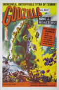 "Movie Posters:Science Fiction, Godzilla (Toho, 1956) One Sheet (27"" X 41""). The first in theseries of this long-running ""King of the Monsters"" from Japan...."