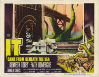 "It Came From Beneath the Sea (Columbia, 1955). Lobby Cards (4) (11"" X 14""). A six-legged giant octopus gets a..."