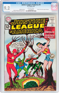 Justice League of America #9 (DC, 1962) CGC NM- 9.2 Off-white pages