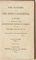 Books:Americana & American History, [American Revolution, Fiction]. [Daniel Pierce Thompson]. TheRangers; or, The Tory's Daughter. A Tale, Illustrative of ...