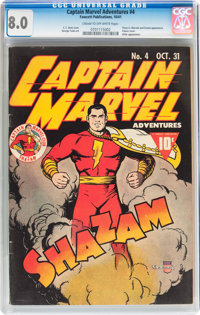 Captain Marvel Adventures #4 (Fawcett Publications, 1941) CGC VF 8.0 Cream to off-white pages